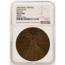 1966 Israel Bronze Official State Medal Jerusalem NGC MS67 BN