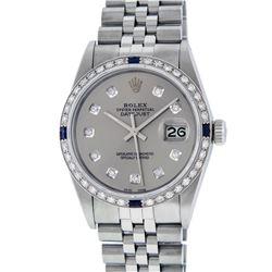 Rolex Men's Stainless Steel Gray Diamond & Sapphire 36MM Datejust Watch