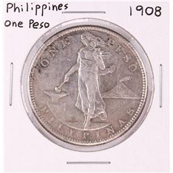 1908 Philippines One Peso Silver Coin