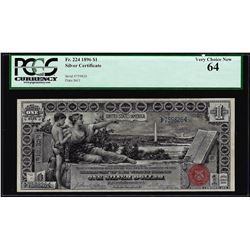 1896 $1 Educational Silver Certificate Note Fr.224 PCGS Very Choice New 64