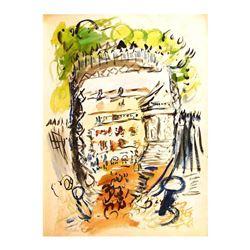"Wayne Ensrud ""Chateau Margaux"" Original Mixed Media on Paper"