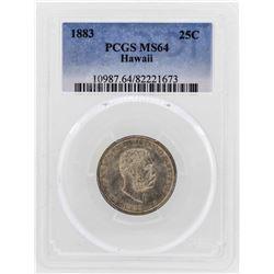 1883 Kingdom of Hawaii Quarter Coin PCGS MS64
