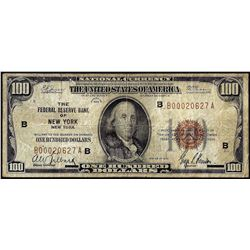 1929 $100 Federal Reserve Bank Note New York