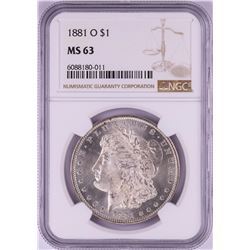 1881-O $1 Morgan Silver Dollar Coin NGC MS63