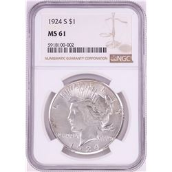 1924-S $1 Peace Silver Dollar Coin NGC MS61