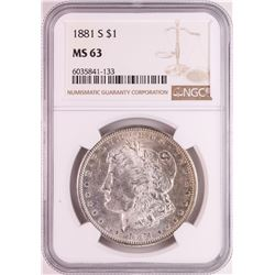 1881-S $1 Morgan Silver Dollar Coin NGC MS63 Nice Toning
