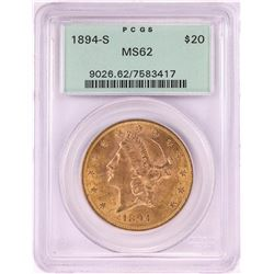 1894-S $20 Liberty Head Double Eagle Gold Coin PCGS MS62 Old Green Holder