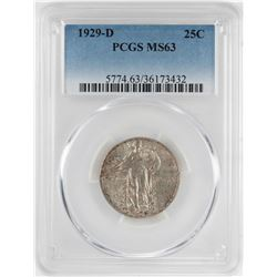 1929-D Standing Liberty Quarter Coin PCGS MS63