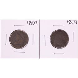 Lot of (2) 1809 Classic Head Half Cent Coins