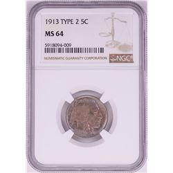 1913 Type 2 Buffalo Nickel Coin NGC MS64 Nice Toning