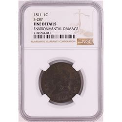 1811 S-287 Classic Head Large Cent Coin NGC Fine Details