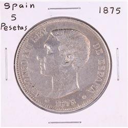 1875 Spain 5 Pesetas Silver Coin