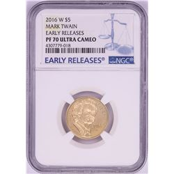 2016-W $5 Proof Mark Twain Commemorative Gold Coin NGC PF70 Ultra Cameo Early Releases