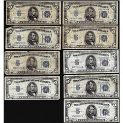Lot of (9) 1934/A/B/C $5 Silver Certificate Notes