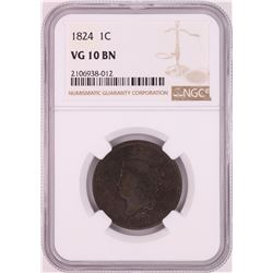 1824 Coronet Head Large Cent Coin NGC VG10BN