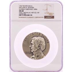 1967 William H. Seward Alaska Purchase 200th Silver 64mm Medal NGC MS68