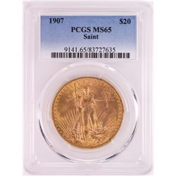 1907 $20 St. Gaudens Double Eagle Gold Coin PCGS MS65