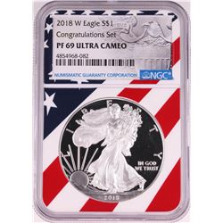 2018-W $1 Proof American Silver Eagle Coin NGC PF69 Ultra Cameo Congratulations Flag