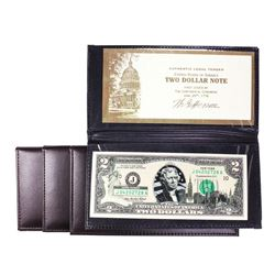 Lot of (4) 2003A $2 Federal Reserve Notes Uncirculated in Leather Envelope