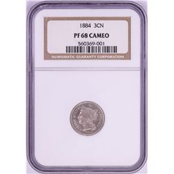 1884 Proof Three Cent Nickel Coin NGC PF68 Cameo None Finer