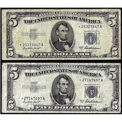 Lot of (2) 1953A $5 Silver Certificate STAR Notes