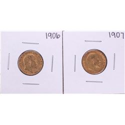 Lot of 1906-1907 Great Britain Half Sovereign Gold Coins