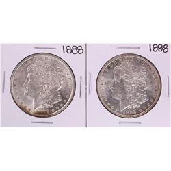 Lot of (2) 1888 $1 Morgan Silver Dollar Coins
