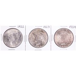 Lot of 1922-1924 $1 Peace Silver Dollar Coins