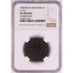 1800 80/79 2nd Hair S-192 Draped Bust Large Cent Coin NGC VG Details