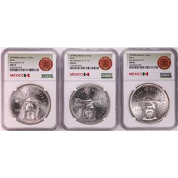 Lot of (3) 1979Mo Mexico 1 Onza Silver Coins NGC MS63