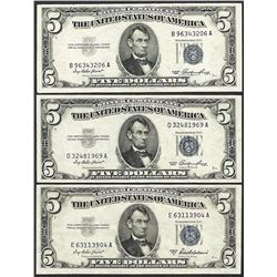 Lot of (3) 1953/1953A $5 Silver Certificate Notes