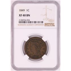 1849 Braided Hair Large Cent Coin NGC XF40BN