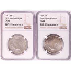 Lot of (2) 1952 Washington-Carver Commemorative Half Dollar Coins NGC MS62