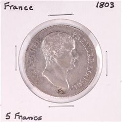 1803 France 5 Francs Silver Coin
