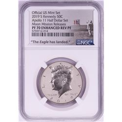 2019-S Proof Kennedy Half Dollar Coin NGC PF70 Enhanced Reverse Apollo Moon Releases