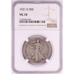 1921-D Walking Liberty Half Dollar Coin NGC VG10