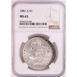 1881-S $1 Morgan Silver Dollar Coin NGC MS63 Great Toning