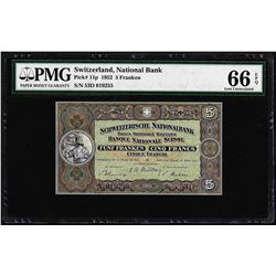 1952 Switzerland 5 Franken Note Pick# 11p PMG Gem Uncirculated 66EPQ