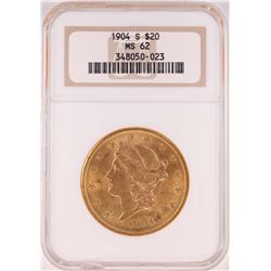 1904-S $20 Liberty Head Double Eagle Gold Coin NGC MS62 - Chipped Slab
