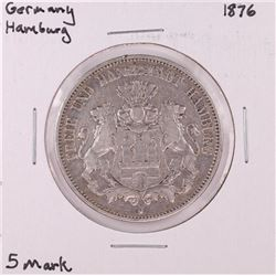 1876 Germany Hamburg 5 Mark Silver Coin