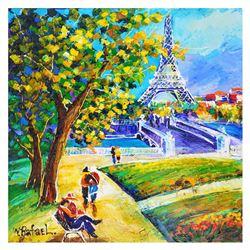 "Yana Rafael ""A Park In Paris"" Original Acrylic On Canvas"