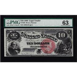 1880 $10 Jackass Legal Tender Note Fr.103 PMG Choice Uncirculated 63