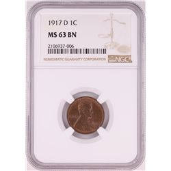 1917-D Lincoln Wheat Cent Coin NGC MS63BN