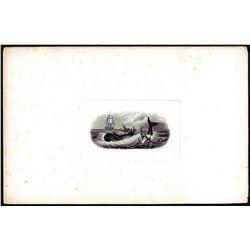 American Bank Note Co. 'Capsized Boat' Whale Harpooner Vignette