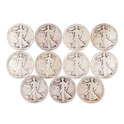 Lot of (11) 1918-P/D/S Walking Liberty Half Dollar Coins