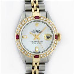 Rolex Ladies Two Tone Steel & Gold MOP Diamond & Ruby Datejust Wristwatch