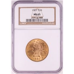1901 $10 Liberty Head Eagle Gold Coin NGC MS65