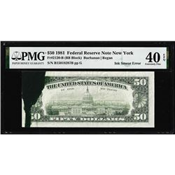 1981 $50 Federal Reserve Note Ink Smear Error PMG Extremely Fine 40EPQ
