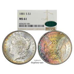 1881-S $1 Morgan Silver Dollar Coin NGC MS61 CAC Amazing Toning