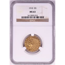 1910 $5 Indian Head Half Eagle Gold Coin NGC MS63
